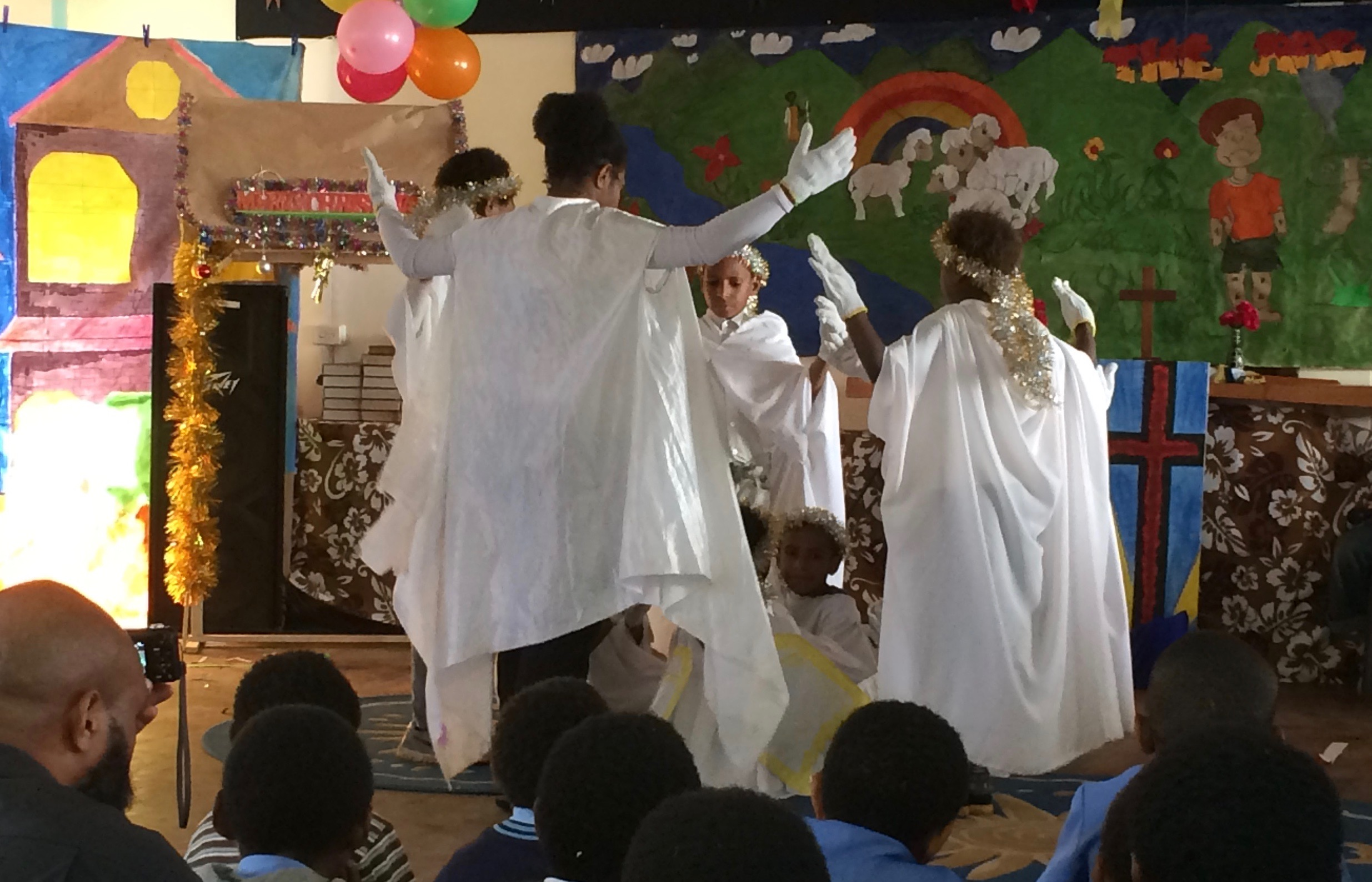 Angels dance around the Christmas manger (Early Childhood Christmas Pageant 2015)